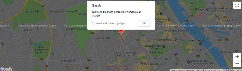 Ta strona nie może poprawnie wczytać Map Google - problem z API Google Maps